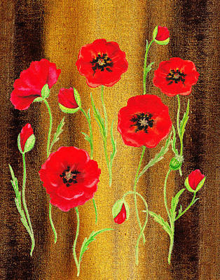 Best Painting - Red Poppies Warm Collage by Irina Sztukowski