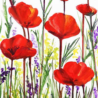 Country Style Painting - Red Poppies Watercolor By Irina Sztukowski by Irina Sztukowski