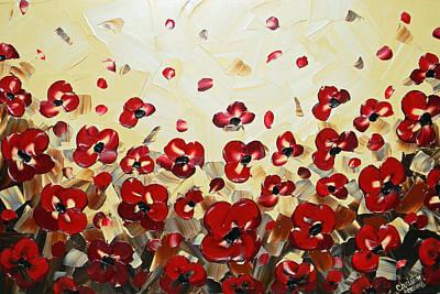 Palette Knife Painting - Red Poppy Dance by Christine Krainock