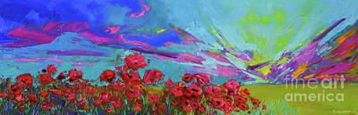 Red Poppy Flower Field, Impressionist Floral, Palette Knife Artwork Original by Patricia Awapara