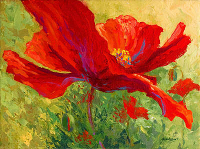 Autumn Landscape Painting - Red Poppy I by Marion Rose