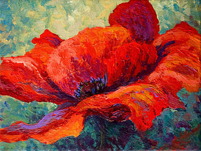 Spring Landscape Painting - Red Poppy IIi by Marion Rose