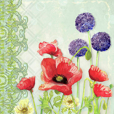 Red Poppy Purple Allium IIi - Retro Modern Patterns Print by Audrey Jeanne Roberts