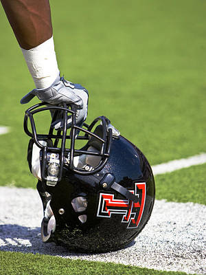 Red Raider Helmet Print by Michael Strong