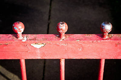 Wooden Platform Photograph - Red Railing by Tom Gowanlock