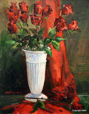 A Dozen Roses Painting - Red Red Roses by Mary Veazie