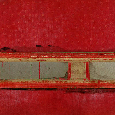 Cardboard Mixed Media - Red Riley Collage Square 1 by Carol Leigh