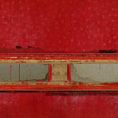 Cardboard Mixed Media - Red Riley Collage Square 2 by Carol Leigh