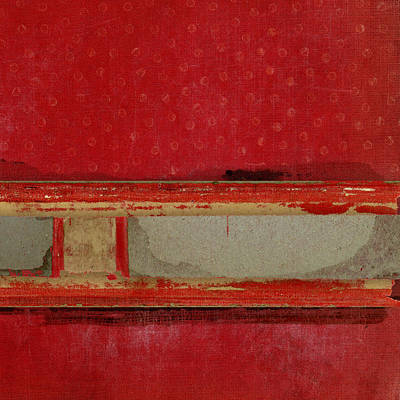 Cardboard Mixed Media - Red Riley Collage Square 3 by Carol Leigh