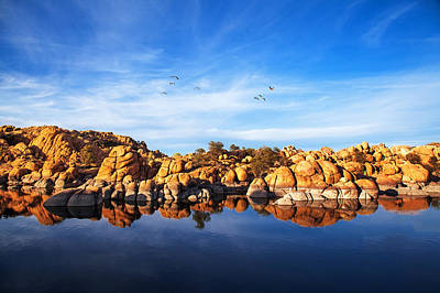 Prescott Photograph - Red Rock Reflection On Arizona Lake by Susan Schmitz