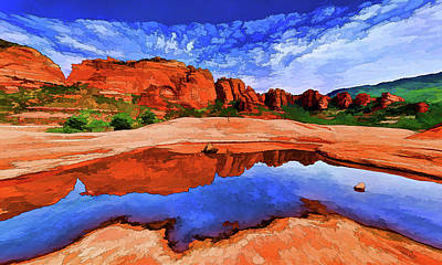 Manipulation Photograph - Red Rock Reflections by Bill Caldwell - ABeautifulSky Photography