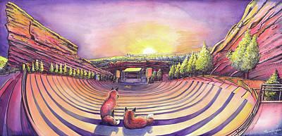 Red Fox Painting - Red Rocks Sunrise by David Sockrider