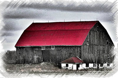 Red Roof Barn Print by Miss Dawn