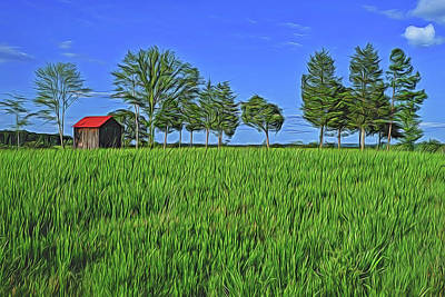 Red Roof Barn Print by Sandy Gelatt