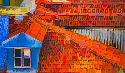 Red Roof Blue Window Print by Julie Palencia