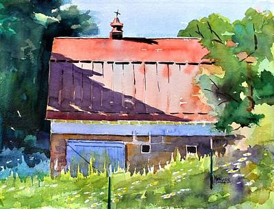Red Roof Shadow Print by Spencer Meagher