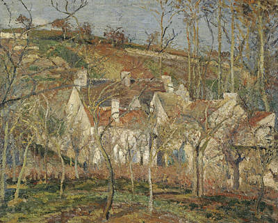Red Roofs, Corner Of A Village, Winter Print by Camille Pissarro