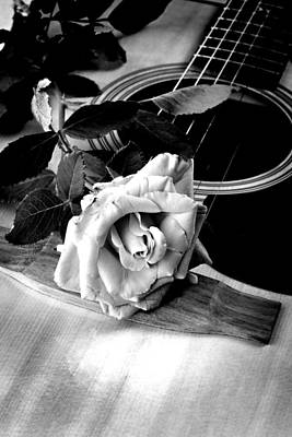 Red Rose Acoustic Guitar Print by M K  Miller