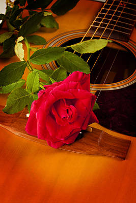 Red Rose Natural Acoustic Guitar Print by M K  Miller