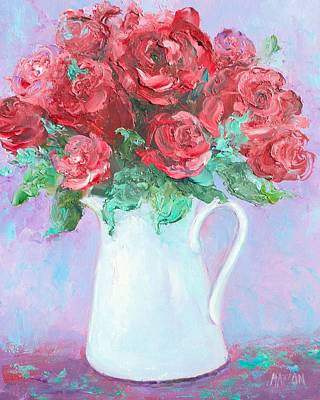 Flower Painting - Red Roses In White Jug by Jan Matson