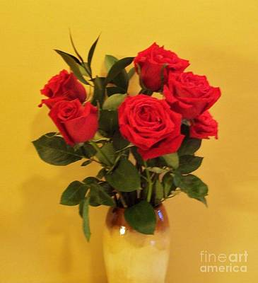 Red Roses On Gold Original by Marsha Heiken