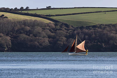 Red Sails In Carrick Roads Print by Terri Waters