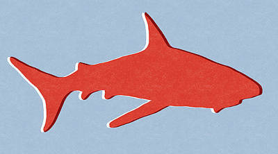 Red Shark Print by Linda Woods