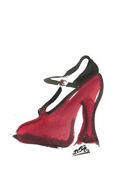 Indian Ink Painting - Red Shoe by Carl Griffasi