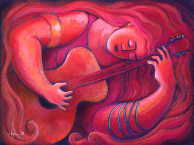 Red Sings The Blues Painting 43 Print by Angela Treat Lyon