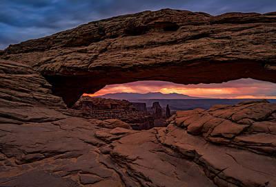 The Plateau Photograph - Red Skies At Mesa Arch by Rick Berk