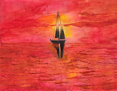Red Sky At Night Sailors Delight Watercolor Original by Conni Schaftenaar