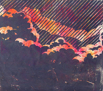 Lino Painting - Red Sky In The Morning by Becca Thorne