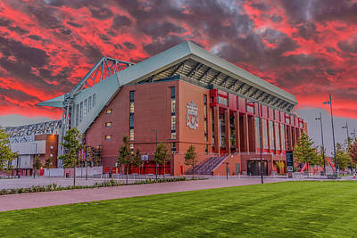 Red Sky Over Anfield Print by Paul Madden