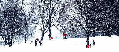 Montreal Memories Photograph - Red Sleds - Slim Horizontal by Jacqueline M Lewis