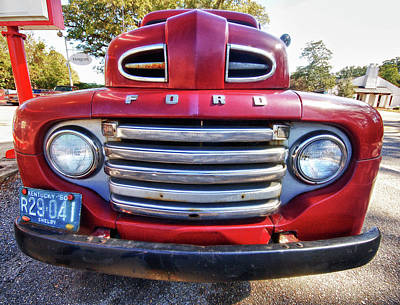 Old Firetrucks Digital Art - Red Smiling Ford by Michael Thomas