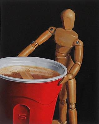 Manikins Painting - Red Solo Cup by Tom Swearingen