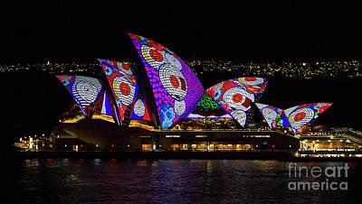 Photograph - Red Spot Sails - Sydney Vivid Festival by Bryan Freeman