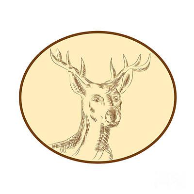 Deer Digital Art - Red Stag Deer Head Circle Etching by Aloysius Patrimonio