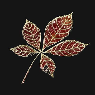 Botany Digital Art - Red Star Leaft by Alberto RuiZ