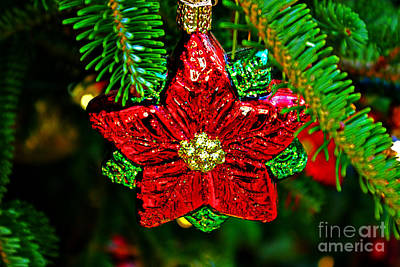 Red Star Ornament Print by Rich Walter