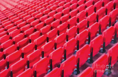 Red Stadium Seats Print by Edward Fielding