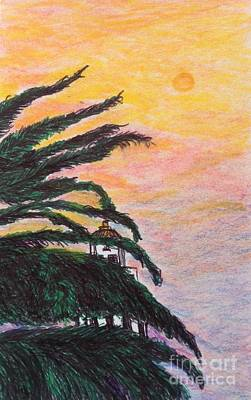Beverly Hills Drawing - Red Sun Over Beverly Hills  by Ishy Christine Degyansky