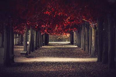 Paris Surreal Parks Photograph - Red Surreal Path  by Sandra Rugina