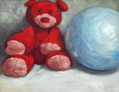Red Teddy And A Blue Ball Print by William Noonan
