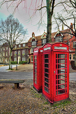 Red Chair. Cobble Streets Digital Art - Red Telephone Boxes by Martin Fry