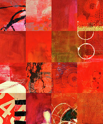 Grid Painting - Red Textures Abstract by Nancy Merkle