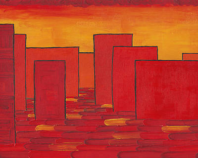 City Scenes Mixed Media - Red Town P1 by Manuel Sueess