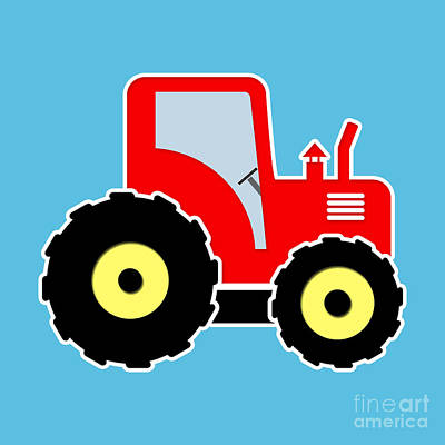 Red Toy Tractor Print by Gaspar Avila