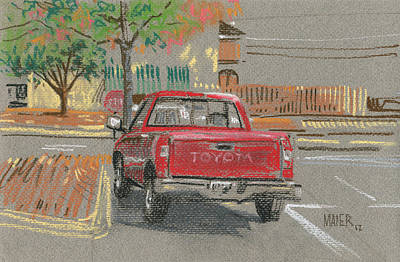 Pick-up Painting - Red Toyota by Donald Maier