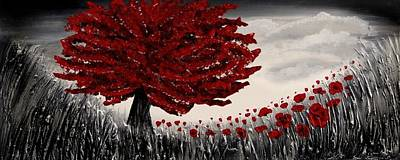 Poppies Field Painting - Red Tree by Amanda Dagg